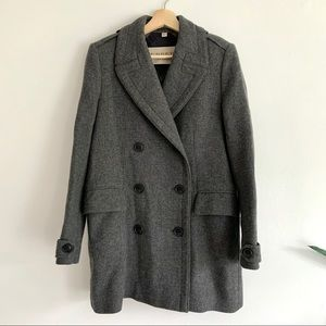 Burberry Brit Gray Wool Double Breasted Pea Coat